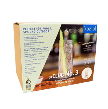 CLUB NO. 3 Longdrinkglas 6-pack 250ml, crystal clear